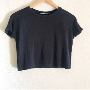 Zara trafaluc black cropped top t shirt